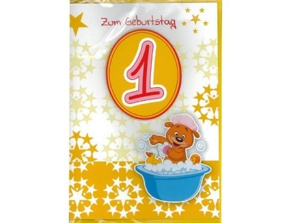 Geburtstagskarte 1 AvanCarte Badebär 11,6x16,6cm