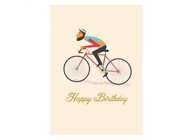 Geburtstagskarte Rex Fahrrad 15x17cm