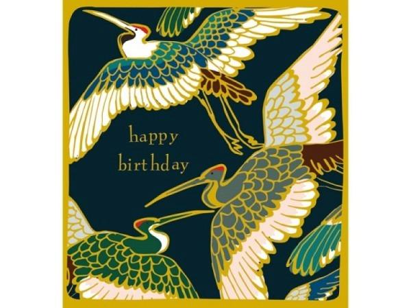 Geburtstagskarte Caroline Gardner Kimono Cranes Flying 14,6x14cm