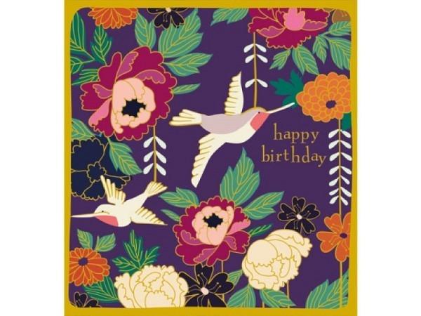 Geburtstagskarte Caroline Gardner Kimono Lovely Birds 14,6x14cm