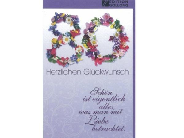 Geburtstagskarte 80 Gollong Blüten, 12x17,1cm