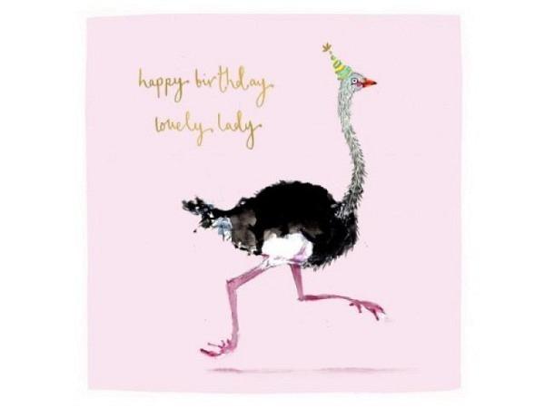 Geburtstagskarte Cart Flamingo 15x15cm, quadratische Doppelkarte