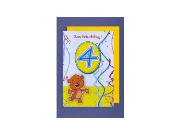 Geburtstagskarte 4 AvanCarte 3D 4 und einem lachenden Bär