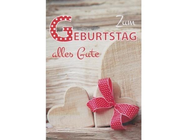 Geburtstagskarte Borer Holzherzen