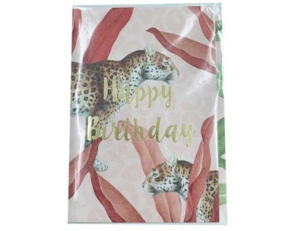 Geburtstagskarte Creative Lab Amsterdam Jungle 12x17,5cm, rosa Doppelkarte, bedruckt mit Gepard und Pflanzen