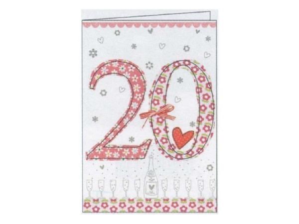 Geburtstagskarte Gollong Zahlengeburtstag 20, mit roter 20
