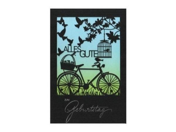 Geburtstagskarte ABC Fahrrad, Doppelkarte mit Fahrrad