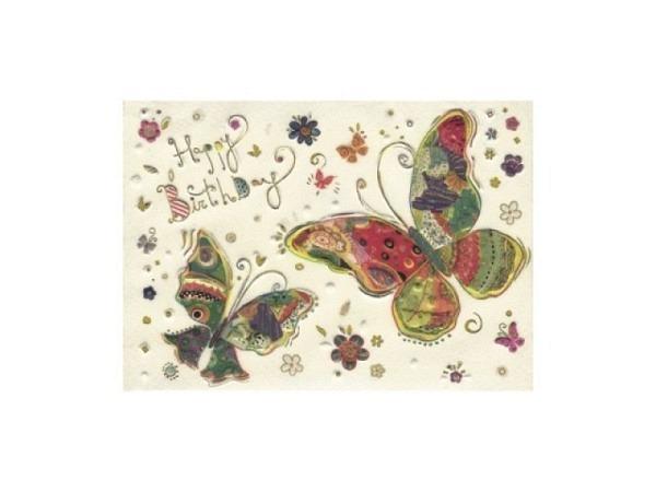 Geburtstagskarte Turnowsky Happy Birthday mit Schmetterlingen