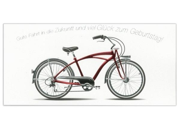 Geburtstagskarte ABC Fahrrad rot 10,5x21,5cm