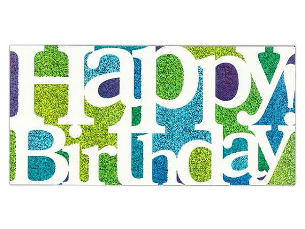 Geburtstagskarte ABC Happy Birthday Glitter 10,5x21,5cm