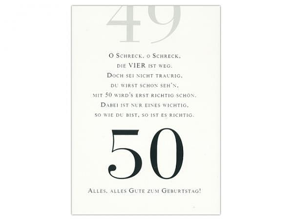 Geburtstagskarte ABC 50 Zahlengeburtstag Reim 11,5x17cm