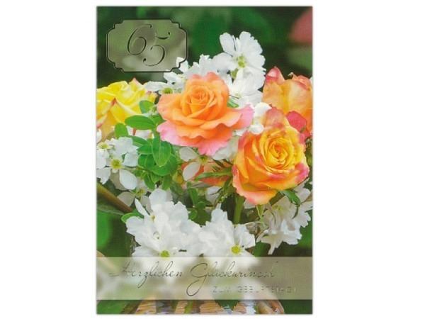 Geburtstagskarte ABC 65 Zahlengeburtstag Blumenstrauss