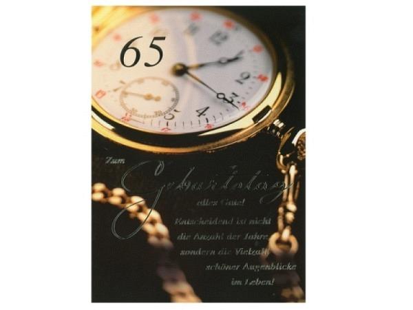 Geburtstagskarte ABC 65 Zahlengeburtstag Taschenuhr gold