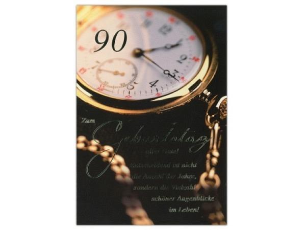 Geburtstagskarte ABC 90 Zahlengeburtstag Taschenuhr gold sch