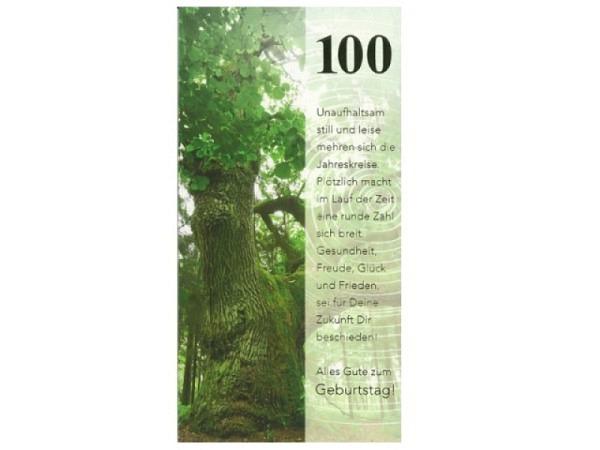 Geburtstagskarte ABC 100 Zahlengeburtstag Baum im Wald