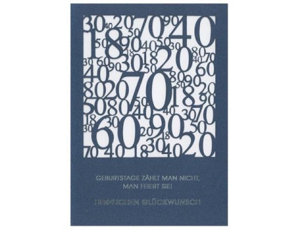 Geburtstagskarte ABC Scherenschnitt Zahlensalat dunkelblau