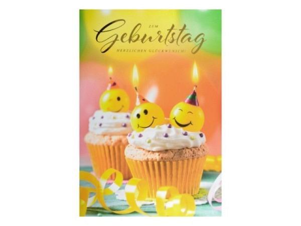 Geburtstagskarte ABC bunter Blumenstrauss 11,5x17cm
