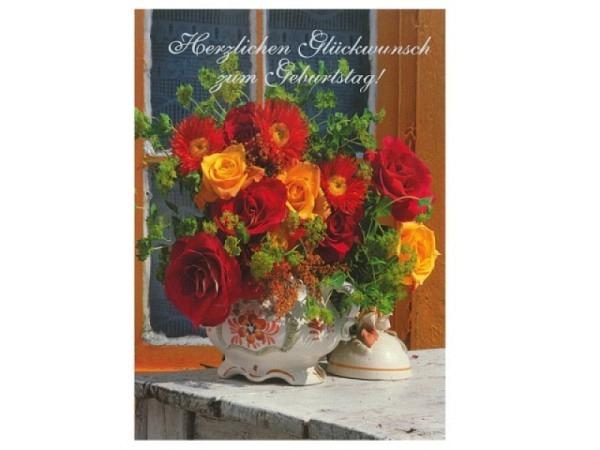 Geburtstagskarte ABC Blumenstrauss orange/rot 11,5x17cm