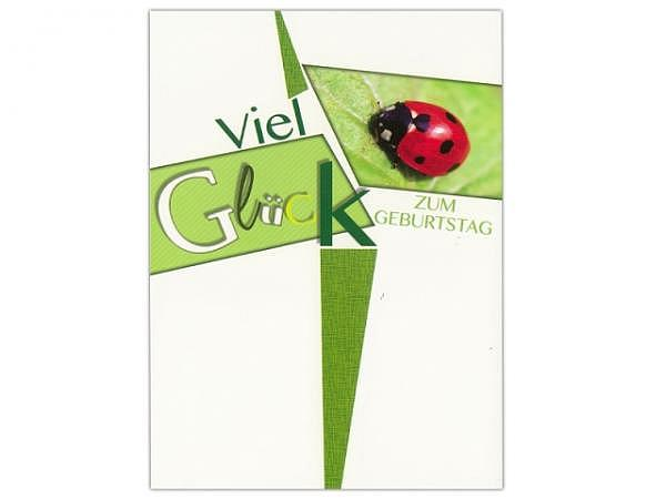 Geburtstagskarte ABC Viel Glück - Marienkäfer 11,5x17cm