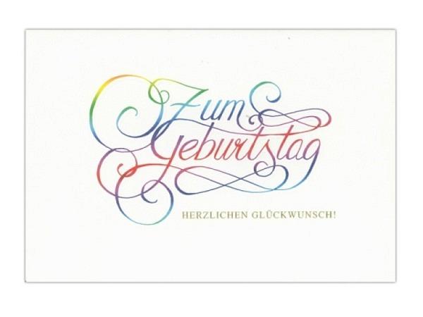 Geburtstagskarte ABC Zum Geburtstag Kalligraphie 11,5x17cm