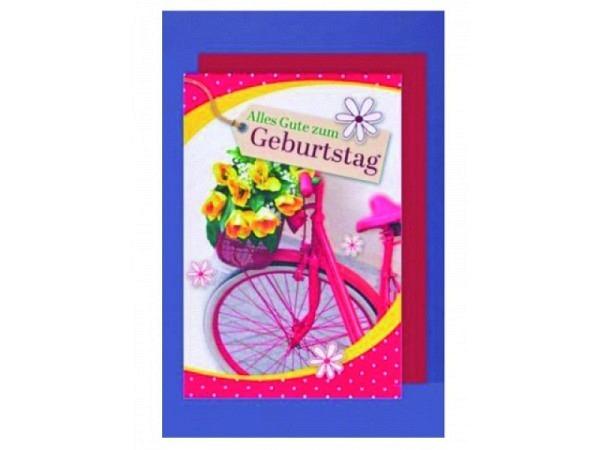 Geburtstagskarte AvanCarte Fahrrad, Blumenstrauss im Korb