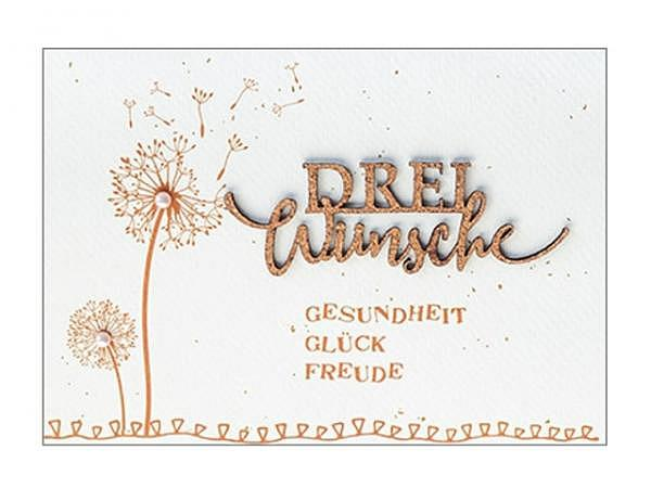 Geburtstagskarte Hartung Best Words drei Wünsche Gesundheit Glück Freude