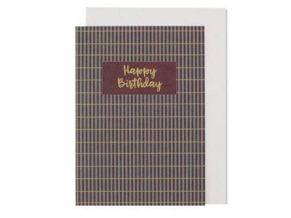 Geburtstagskarte Ava&Yves Stripes aubergine grün A6 14,8x10,5cm