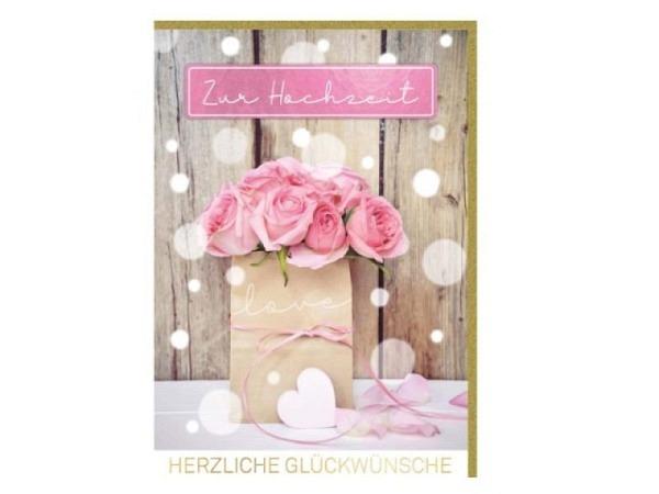 Hochzeitskarte Gollong Silberne Hochzeit 12,5x18,5cm, Doppelkarte mit silbernem Text und roten Herzen Zur silbernen Hochzeit, Folienprägung, ohne Einlageblatt, inkl. farblich passendem Couvert