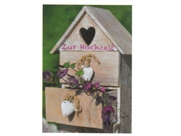 Vermählungskarte Art Bula 12,2x17,5cm, Holzhäuschen