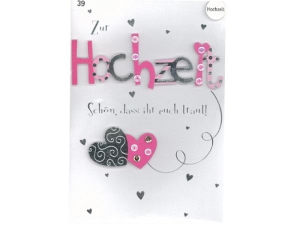 Vermählungskarte Avan More Schön, dass ihr euch traut 11,1x16,5cm, weisse Doppelkarte mit pink-silbe
