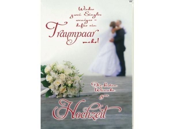 Vermählungskarte Avan Style Maxi Traumpaar A4 21x29,7cm, helle Doppelkarte mit einem Blumenstrauss u