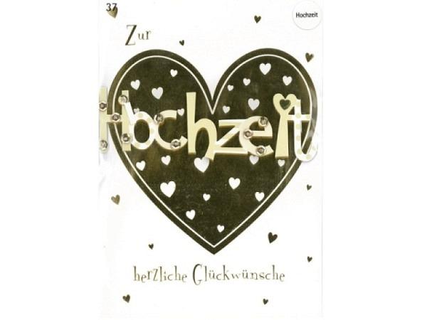 Vermählungskarte Avan More Goldherz 11,1x16,5cm, weisse Doppelkarte mit einem goldenen Herz und Schr