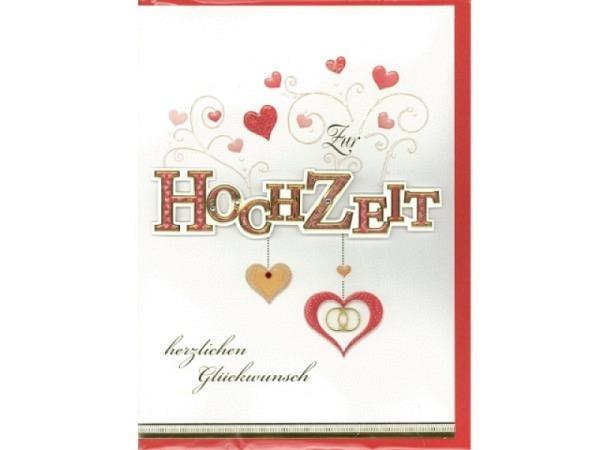 Vermählungskarte Bobo Card Plus rote Schrift Herzen Eheringe