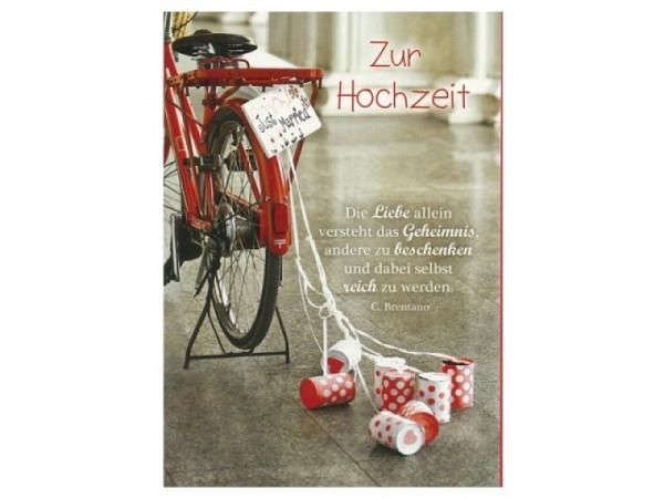 Vermählungskarte Hartung Fahrrad mit Dosen