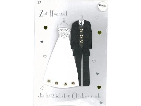 Vermählungskarte Avan More Hochzeitskleider 11,1x16,5cm, weisse Doppelkarte mit einem Brautkleid und