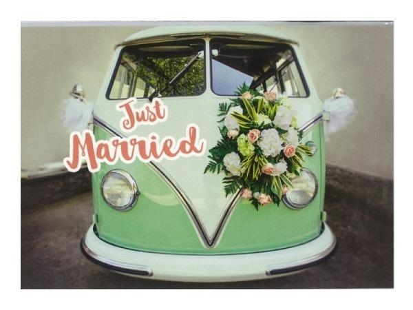 Vermählungskarte Hartung grüner VW-Bus mit Blumenbouque