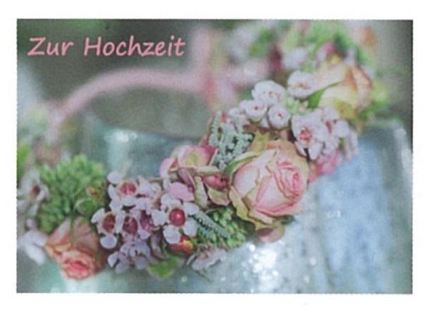Vermählungskarte Art Bula 12,2x17,5cm Blumenkranz mit Rosen