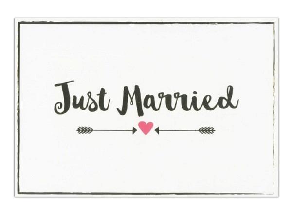Vermählungskarte Hartung Goldstück Just married 12x17cm