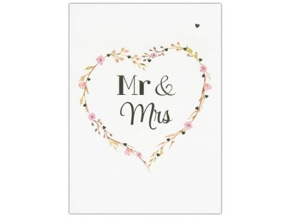 Vermählungskarte Hartung Goldstück Mr & Mrs 12x17cm
