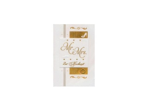 Vermählungskarte Avan Mr. Mrs. Zur Hochzeit 11,1x16,5cm, weisse Doppelkarte mit goldenem Schriftzug,