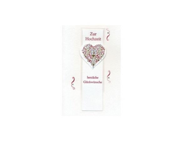 Vermählungskarte Avan Herz mit gold, silber, rot Prägung