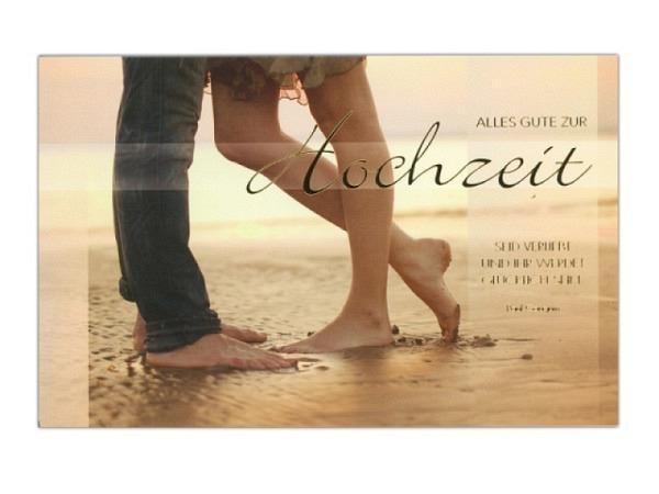 Vermählungskarte ABC Alles Gute zur Hochzeit 12,5x17,5cm, Doppelkarte bedruckt mit einem Paar am Str