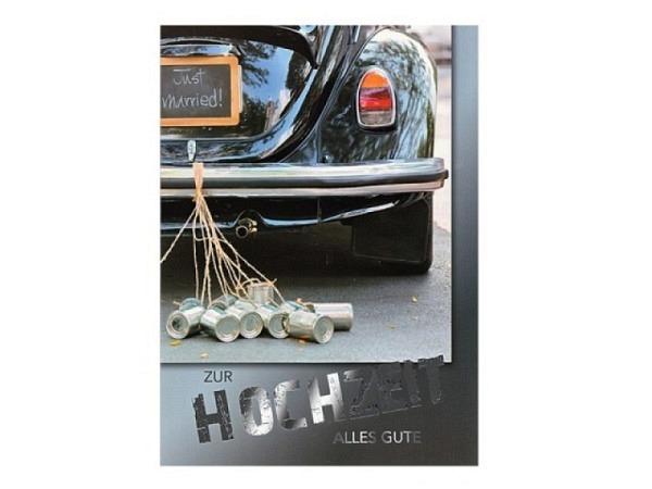 Vermählungskarte ABC Auto mit Herzen 12,5x17,5cm, weisse Doppelkarte mit einem Auto mit zwei grossen