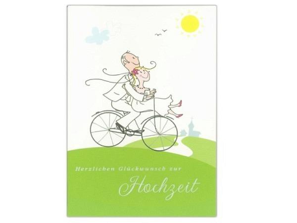 Vermählungskarte ABC Hochzeitspaar auf einem Fahrrad 12,5x17,5cm, weisse Doppelkarte mit einem Braut