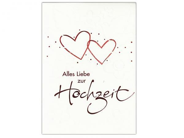 Vermählungskarte ABC rote Herzen 12,5x17,5cm, weisse Doppelkarte mit Blindprägung Tauben und Blumen,