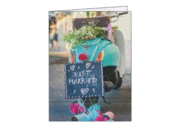 Vermählungskarte Gollong Blumestrauss auf Mofa