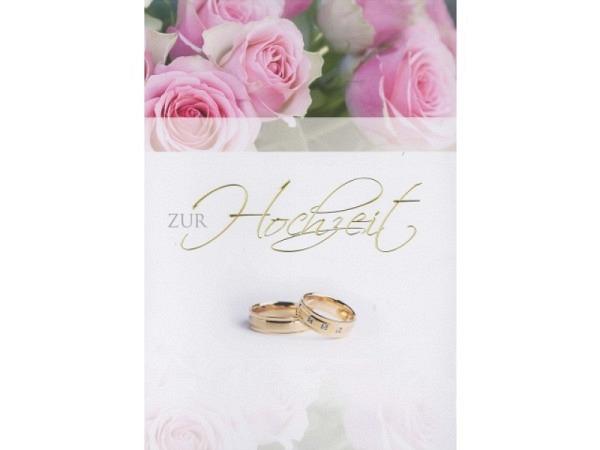 Vermählungskarte Borer Rosenbouquet A4 Rosen, goldene Ringe