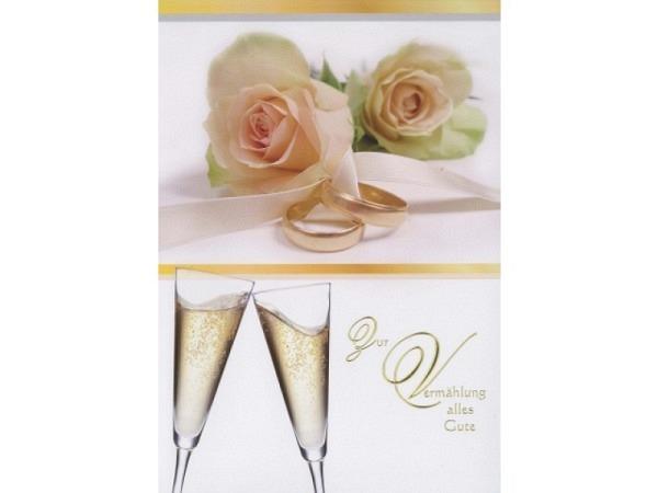 Vermählungskarte Borer Rosen und Champagner A4 goldene Ringe