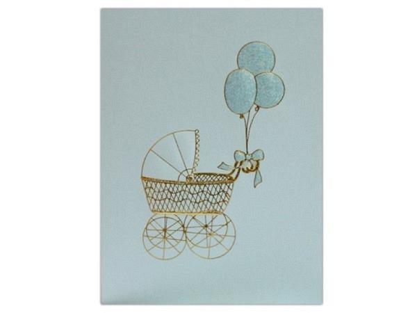 Ereigniskarte Paula Skene Baby Buggy hellblau 12,7x17,8cm