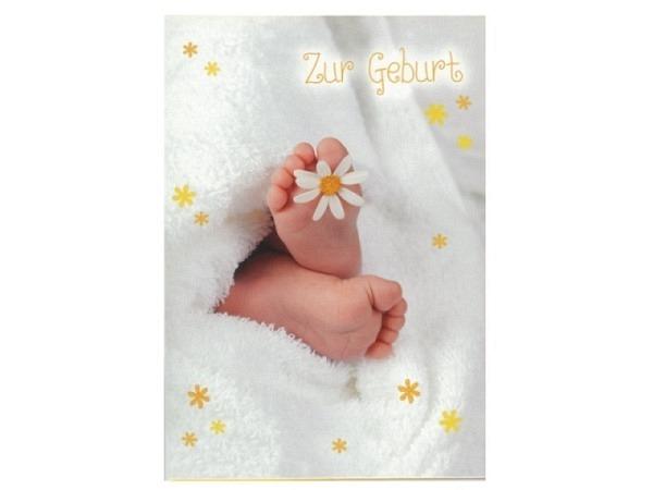 Ereigniskarte Hartung Babyfüsschen mit Decke und Margarete